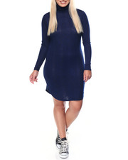Fashion Lab - Blue Depths Light Weight Turtle Neck Dress (plus)