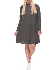Fashion Lab - Twiggy Mock Neck Raglan Sleeve Flare Dress (plus)