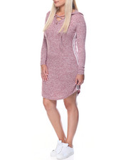 Fashion Lab - Cat Hoodie Jersey Dress W/lace Up Stripes (plus)