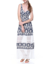 Dresses - Batik Print Lace Trim Maxi Dress