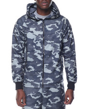 Men - Tech Camo Raglan Zip - Up Hoodie