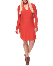 Fashion Lab - Runway Mock Neck Dress W/Keyhole Front (plus)