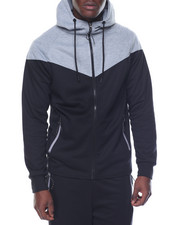 Men - Circle Paneled Zip - Up Hoodie
