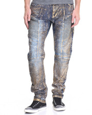 Jeans & Pants - Foil - Coated Moto - Style Denim Jeans