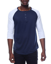 Men - 3/4 Raglan Sleeve Henley T-Shirt