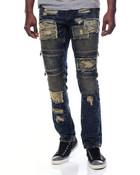 Broken Wash Moto Denim Jeans