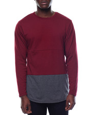 Basic Essentials - Color Block Scalloped - Bottom L/S Tee W/ Side Zippers