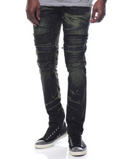 Jeans & Pants - Garment Dyed Twill Moto - Style Pants