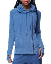 Hoodies - Side Zip French Terry Hi-Low Hem Hoodie