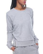 Fashion Lab - Side Zipper Hi-Low Hem French Terry Sweatshirt