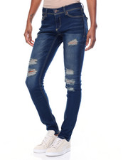 Women - Destructed Sandblasted Flap Back Pockets Skinny Jean