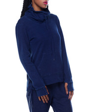 Fashion Lab - Funnel Neck Side Tie French Terry Athleisure Top