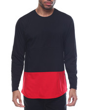 Men - Color Block Scalloped - Bottom L/S Tee W/ Side Zippers