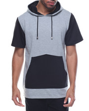 Men - Contrast Pocket Fishtail Bottom S/S Pullover Hoodie