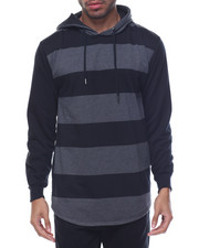Men - Striped French Terry Pullover Hoodie