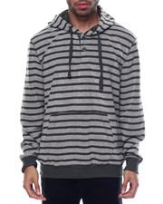 Men - Reverse French Terry Striped Pullover Hoodie