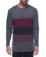 Men - Color Block / Striped Scallop - Bottom L/S Tee