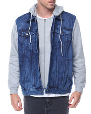Basic Essentials - Hooded Fleece - Sleeved Denim Jacket