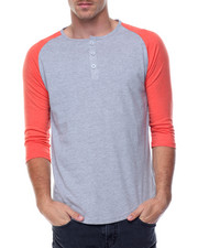 Basic Essentials - 3/4 Raglan Sleeve Henley T-Shirt