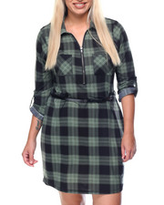 Women - Lumber Barcelona Plaid Dress W/belt (plus)
