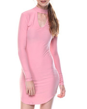 Dresses - Runway Mock Neck Dress W/Keyhole Front