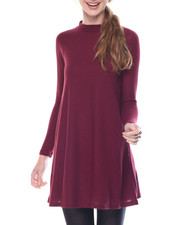 Dresses - Twiggy Mock Neck Raglan Sleeve Flare Dress