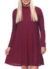 Casual - Twiggy Mock Neck Raglan Sleeve Flare Dress (plus)