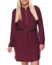 Dresses - Yummy Zip Up 3/4 Sleeve Shirt Dress w/Belt (plus)