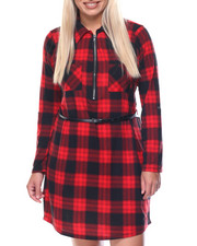 Dresses - Lumber Barcelona Plaid Dress W/belt (plus)