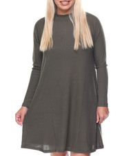 Women - Twiggy Mock Neck Raglan Sleeve Flare Dress (plus)