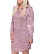 Casual - Cat Hoodie Jersey Dress W/lace Up Stripes (plus)
