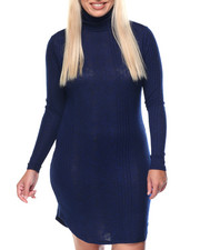 Women - Blue Depths Light Weight Turtle Neck Dress (plus)