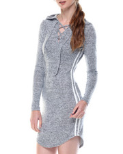 Casual - Cat Hoodie Jersey Dress W/lace Up Stripes