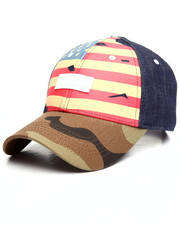 Hats - DENIM CAMO FLAG CAP