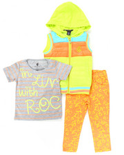 Girls - 3 PC SET - HOODED PUFFER VEST, TEE, AND PRINTED PANTS (2T-4T)