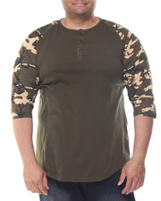 Henleys - 3/4 Raglan Sleeve Henley T-Shirt (B&T)