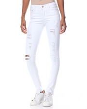 Women - Destructed Slashed Stretch Skinny Jean