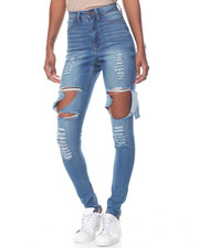 Women - Destructed Cut Outs Stretch Skinny Jean