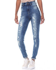 Women - High Waisted Destructeed Stretch Skinny Jean