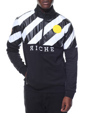 Vie + Riche - Diagonal Striped 1/2 - Zip Pullover