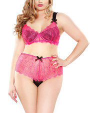 Women - Eyelash Lace 2Tone Bra/Hipster Panty Set (Plus)