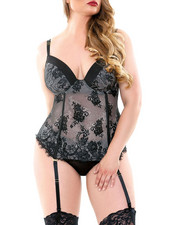 Women - Madison Corset/ Matching Panty/ Detachable Garter Set (Plus)