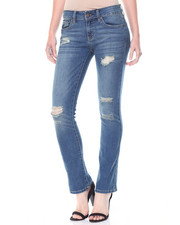 Straight - Sandblasted Destructed Strech Straight Leg Jean