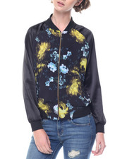 Women - Floral Print Zip Front Fly Jacket