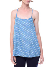 Women - Star Print Lace Back Denim Cami