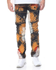 Jeans & Pants - Rust - Wash Moto Denim Jeans