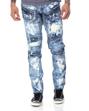 Men - Biker Distressed Wash Denim Jeans