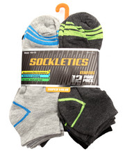 DRJ SOCK SHOP - Performance  Stripes 12Pk No Show Socks