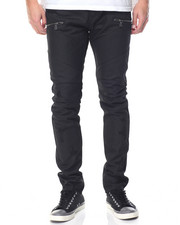 Men - Black Wax Jean w Zip Detail