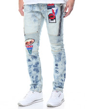 Men - Patch Distressed Wash Denim Jeans